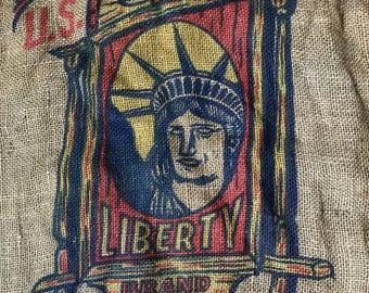 Vintage Burlap Potato Sack, Gunny Sack LIBERTY BRAND Red White Blue Farm Bag Textile, USA  Rustic Country Decor