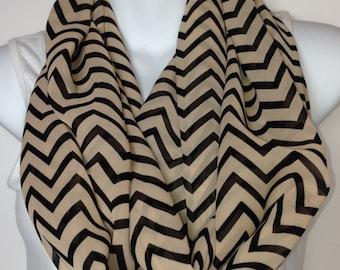 Tan and black chevron chiffon infinity scarf