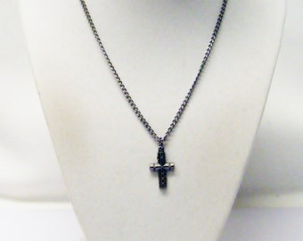 Dark Antique Silver Plated Latin Style Cross Charm Necklace