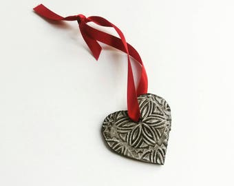 Handmade Ceramic Heart Ornament - Pendant
