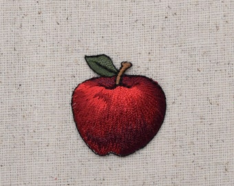 Red Apple - Fruit - Food - Iron on Applique - Embroidered Patch - 151252-A