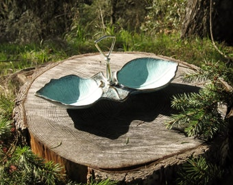 California Pottery #286 Double Leaf Turquoise Candy Dish - Serving Tray