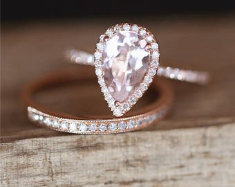 Classical Morganite Engagement Ring Set VS 6*9mm Pear Cut Morganite Ring Set Half Eternity Diamond Wedding Ring Set 14K Rose Gold Bridal Set