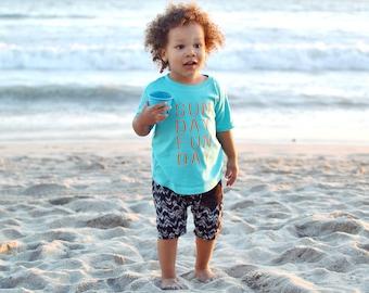 Kids Sunday Fun Day Aqua Graphic T Shirt - infant or toddler -