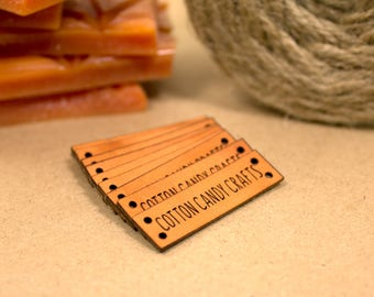 Personalized Knitting Labels - Custom Leather Labels, Personalized Logo Labels Tags, Leather Tags for Knitting - 4 holes in Tan