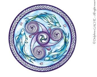 Miroir de poche thème celtic - Trikèle marin - Illustration Delphine GACHE