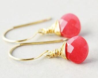 Cherry Jade Dangle Earrings, Raspberry Drop Earrings, Pink Earrings, Bridesmaid Gift