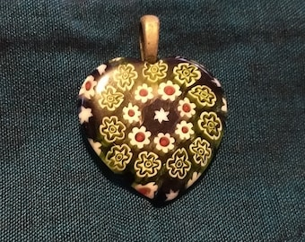Vintage Pattern Glass Heart Pendant