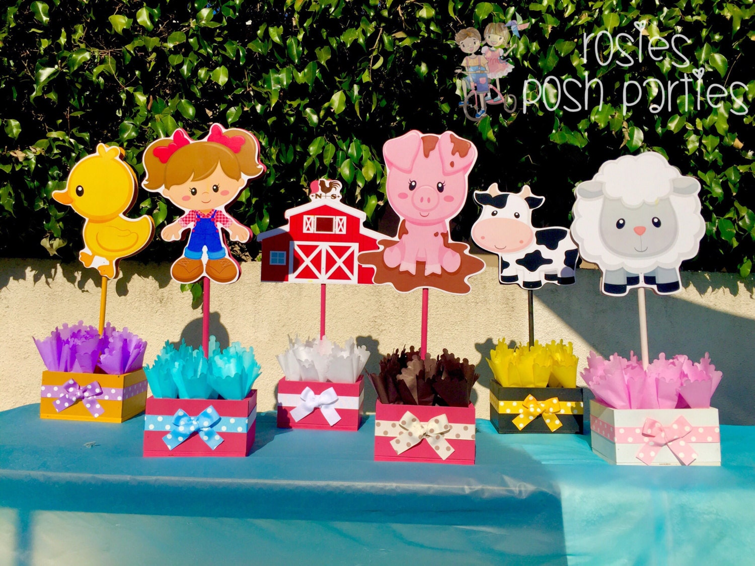 Pink Farm Girl Theme birthday party wood guest table