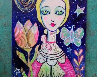 Midnight Garden Goddess / Mixed Media Painting