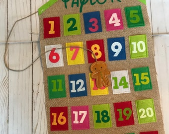 Countdown to Christmas, advent calendar, Countdown to Holiday, countdown burlap wall hanging, Colorful Christmas Countdown, Gingerbread