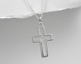 Cross Necklace, Baptism Necklace, Confirmation Necklace, Confirmation Gift Girl, Sterling Silver Cross Necklace,Baptism Gift Girl, Godmother
