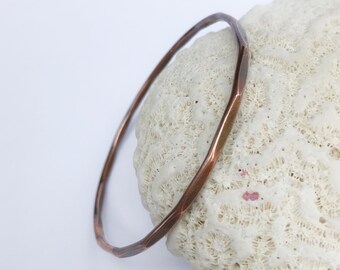 Hammered Copper Bangle Bracelet, Extra Large Copper Bracelet, Boho Chic Stacking Bangle, Rustic Style Jewelry