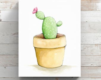 Cactus Canvas Print from original watercolor painting - Cactus in a little pot Print - Wrapped Canvas Print