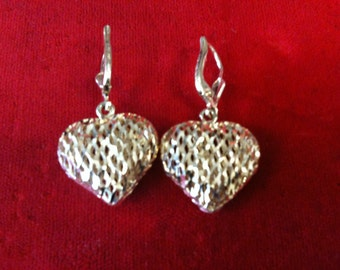 14 k Yellow Gold Puffed Heart  Earrings. 6.2 Gm.