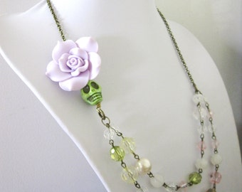 Sugar Skull Necklace Green Purple Day Of The Dead Jewelry