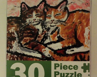 Two Cats Cuddling, 30 piece jigsaw puzzle. Reproduced from my original artwork