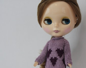Blythe doll Cyndi Sweater knitting PATTERN - cute 80s long or short sleeve sweater - instant download - permission to sell finished items