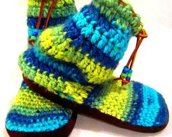 """Slipper Socks, Suede Bottom Slippers, 10"""" Tall, Booties, Boho Slipper Socks, Women's Slipper Socks, Funky Slipper Socks, Handmade"""