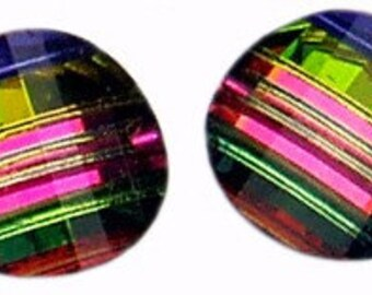 12pc - 6mm Set of Rare Vintage Swarovski Crystal Vitrail Medium Pagoda Beads Article 5107