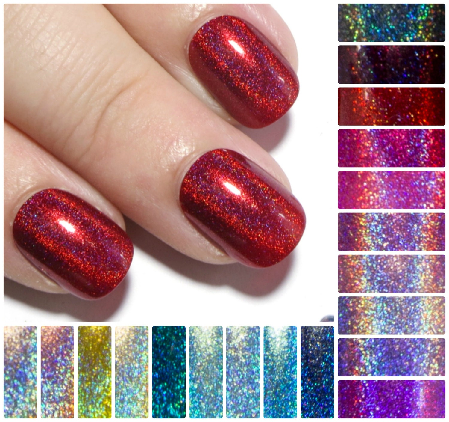 Extra Small Fake Nails Holographic Press On Nails Petite