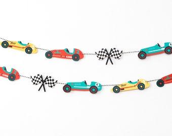 Vintage Race Car- Garland | Birthday, Baby Shower, Decorations | Nursery, Boys Room Wall Decor | Racing | Checkered Flags