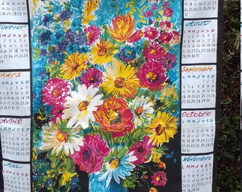 French floral Calendar tea towel 1972 'LOCATELLI'