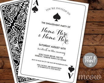 Playing Cards Invitations Spade Couple's Shower Invite Engagement Party INSTANT DOWNLOAD Black Las Vegas Casino Wedding Editable Printable