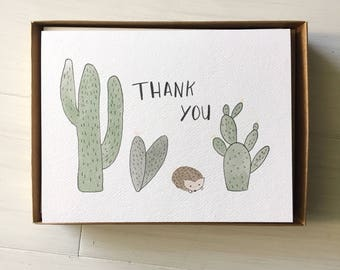 Cacti and Hedgehog - 10 pc Boxed Cards, Thank You Cards, Cacti Card, Cactus Card, Hedgehog Card, Boxed Cards, Cactus Stationery, Thank You