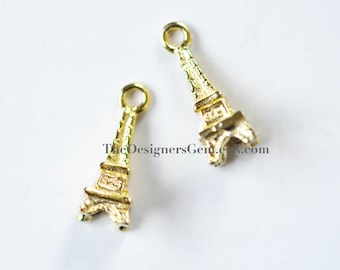 One 18kt Gold Vermeil Paris Eiffel Tower Charm with Closed Loop 14 x 5mm