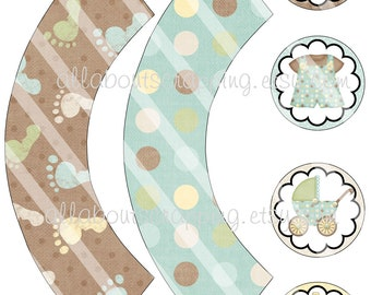 Printable Baby Boy Cupcake Wrappers and Toppers Digital Sheet 0013