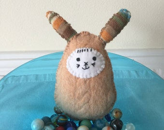 Handstitched Bunny Rabbit Ornament /Bowl Filler / Pin Cushion  Made From A Vintage Wool Sweater