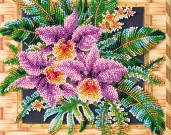KUTTLEY DIY  Set for embroidery with beads Bead embroidery kit Needlepoint beading Beaded painting set.