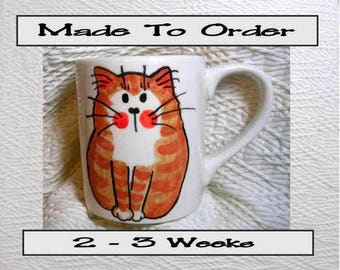 Ginger Striped Tabby Cat Mug 12 Oz. Handpainted by Grace M. Smith