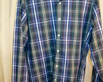 Dockers blue plaid no iron cotton long sleeve casual shirt large