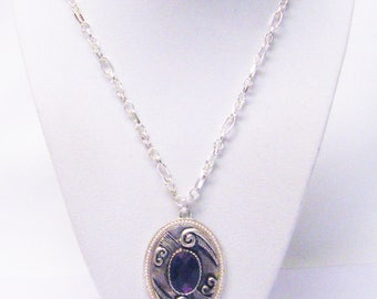 Oval Silver Plated w/Purple Rhinestone Pendant Necklace