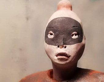 Woman in Black Mask/ Ceramic Colorful Unique Standing Sculpture/ Female Figure