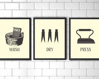 Set of Prints, Wall Art Print Set, Laundry Room, Prints, Vintage Style Prints, Laundry Wall Art, Wall Art, Utility Room Print, Print Set