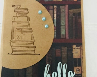 Encouraging book lovers hello in beige, green and black for thinking of you or get well