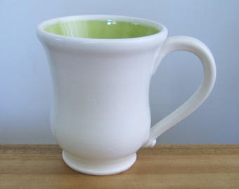Large Coffee Mug, Lime Green Pottery Cup, Handmade Ceramic Mug, Wheel Thrown White Stoneware, 14 oz. Coffee Gift