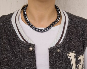 METAL CHAIN NECKLACE, dark metal gray, metal, fashionable, women gift, accessories, gift, women, kaklarota, An-If In Chains