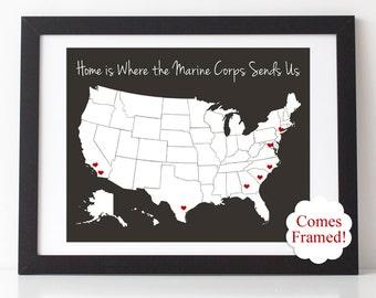 "Home is Where the Marine Corps Sends Us 8"" x 10"" Framed Matted Print w/ Vinyl Heart Decals 