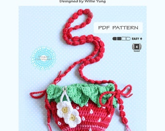 PDF Crochet Pattern Strawberry Bag - cute kawaii little girl kid women lolita princess flower fruit purse tutorial diy craft kit play prop