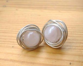 Silver earrings. Stud earrings. Gift for her. Pink quartz earrings. Bridesmaid earrings