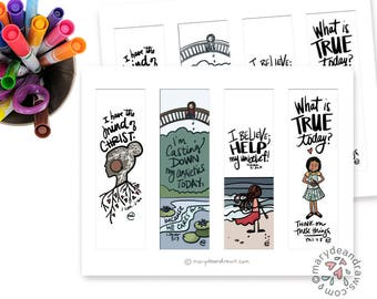 """4 PRINTABLE Hand-lettered Bible Journaling Templates + Bookmarks // """"Peace for Anxiety""""  // Color your own + full color DIGITAL PRINTABLE"""