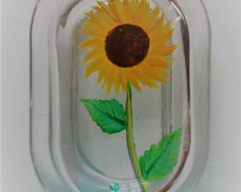 Sunflower Butter Dish With Lid Covered Butter Dish Sunflowers Glass Butter Dish Hand Painted Butter Dish