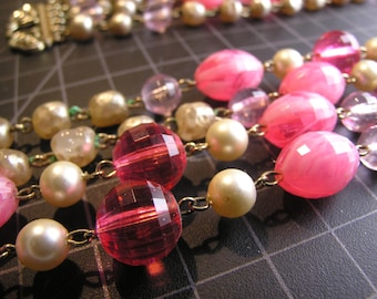 Pretty Pink-n-Pearl dress up necklace and bracelet