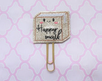 Happy mail package glitter vinyl planner paperclip, Planner mail bookmark,Happy mail package glitter vinyl paperclip, paperclip accessory