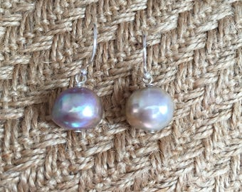 Strange purple color Baroque pearl earrings