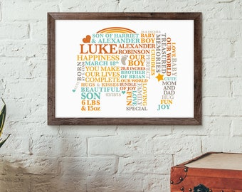 First Birthday Baby Boy A4/10x8 Print | Elephant Nursery  | Newborn Baby Gift | Personalised Christening Gift | 1st Birthday
